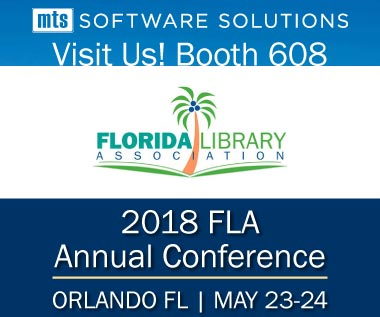 Banner rectangle, Event: Visit Us May 23-24 at the Florida Library Association (FLA) Conference Booth 608