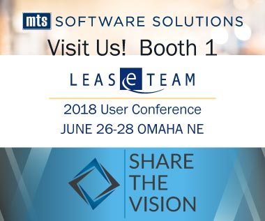 Banner rectangle for Event: LeaseTeam Inc. User Conference 2018, Share the Vision -- Visit Us! Booth 1 June 26-28 in Omaha NE