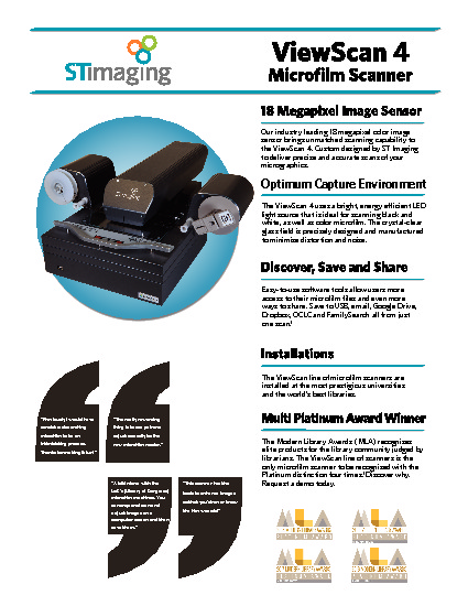 Snapshot of Brochure: ST ViewScan 4 - Microfilm Scanner